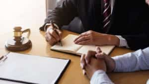 Attorney Meeting With Client Stock Photo