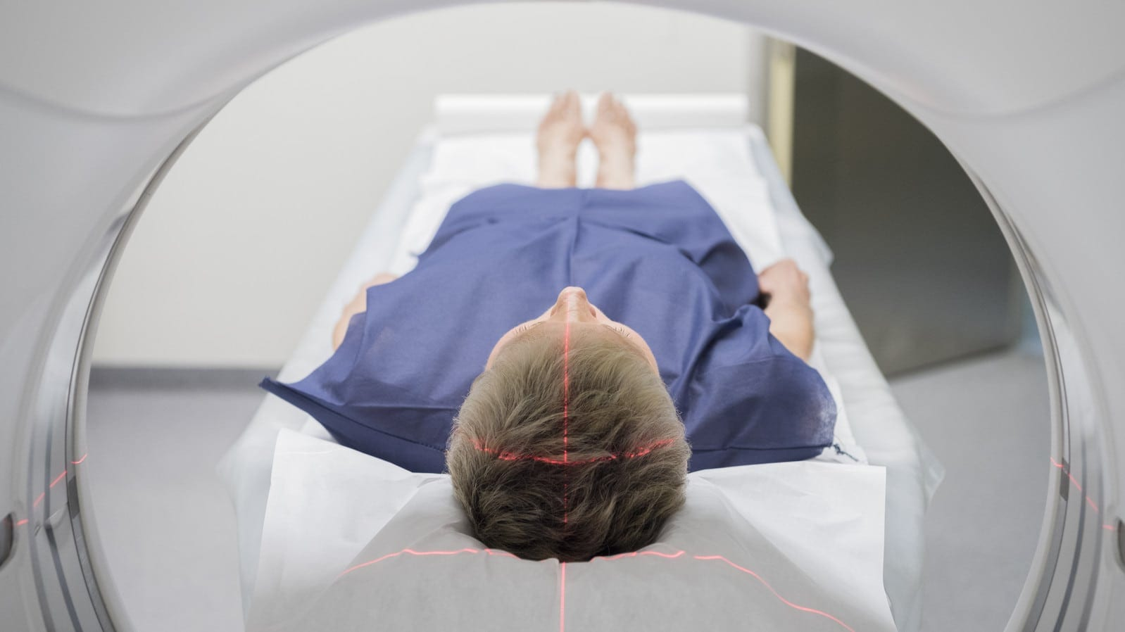 Man Receiving A CT Scan Stock Photo