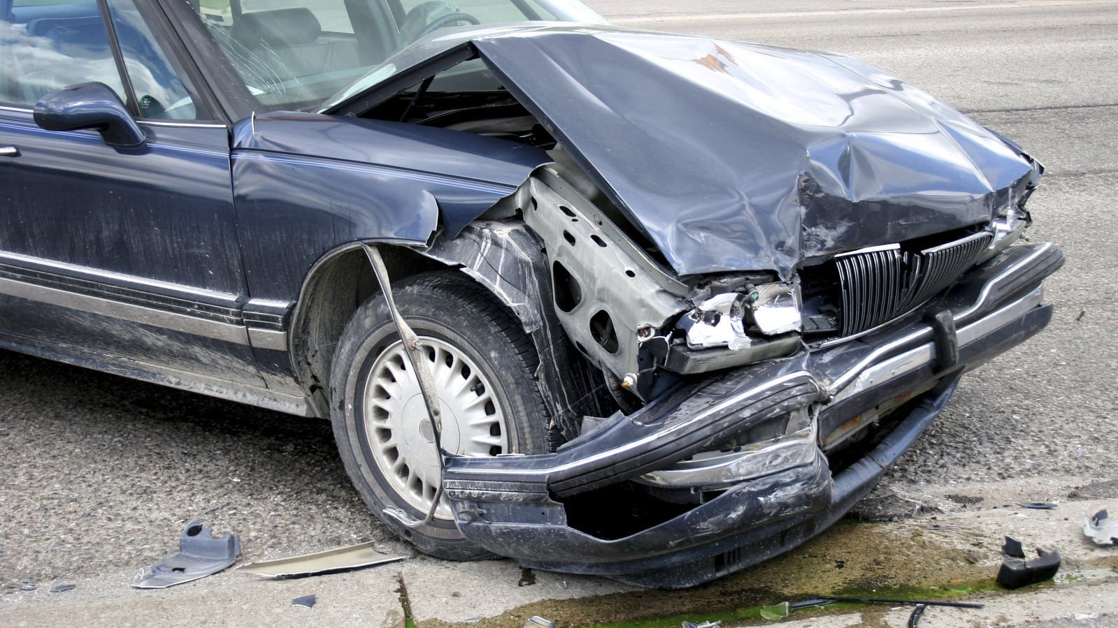 Car With Severe Front End Damage Stock Photo