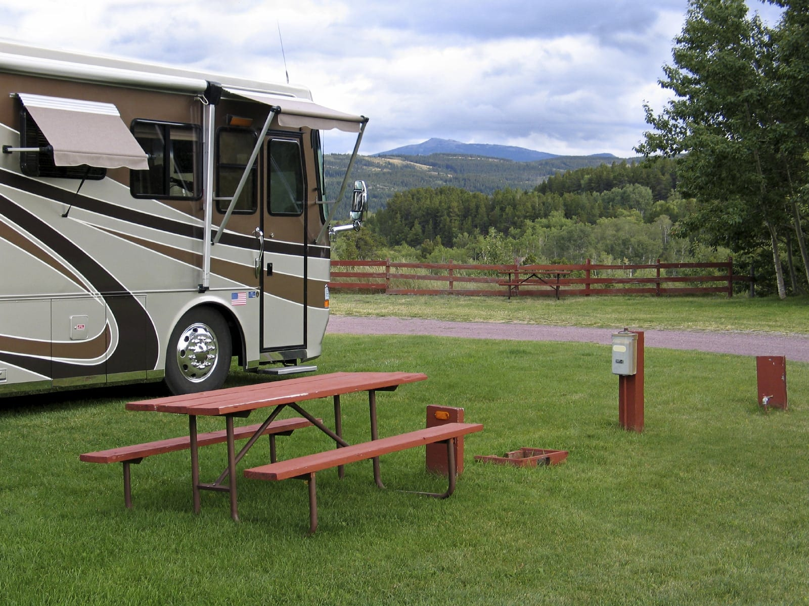 RV Parked At A Campsite Stock Photo