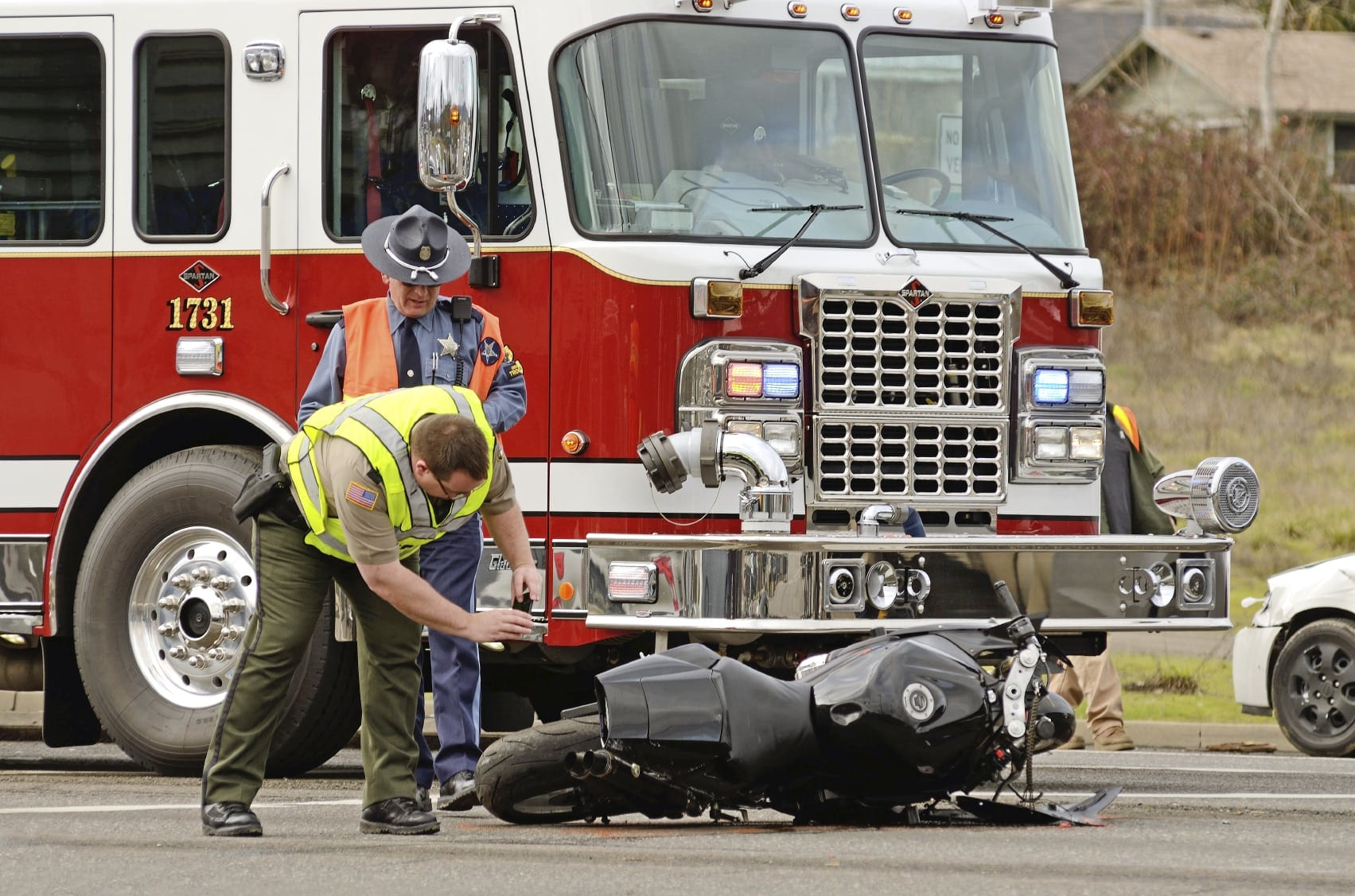 Scene Of A Violent Motorcycle Accident Stock Photo
