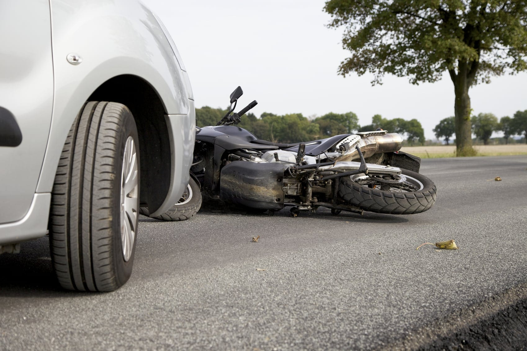 Motorcycle Accident With Larger Vehicle Stock Photo