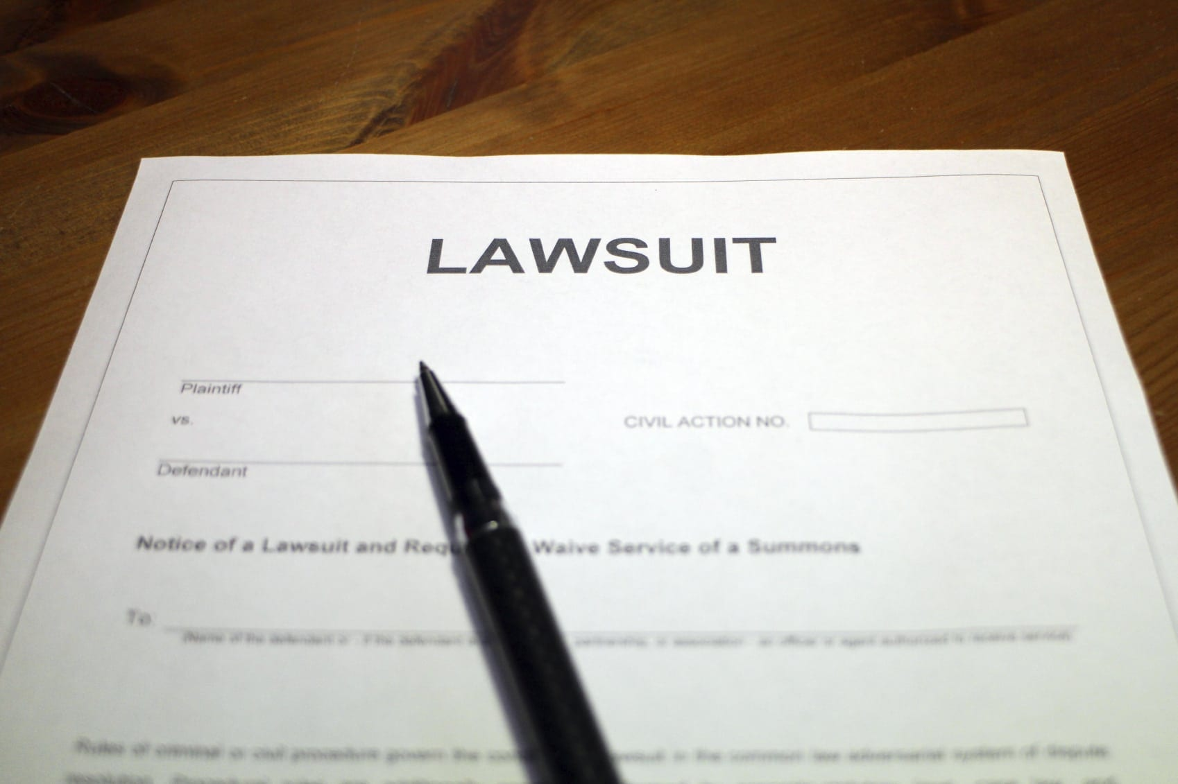 Blank Lawsuit Document Stock Photo