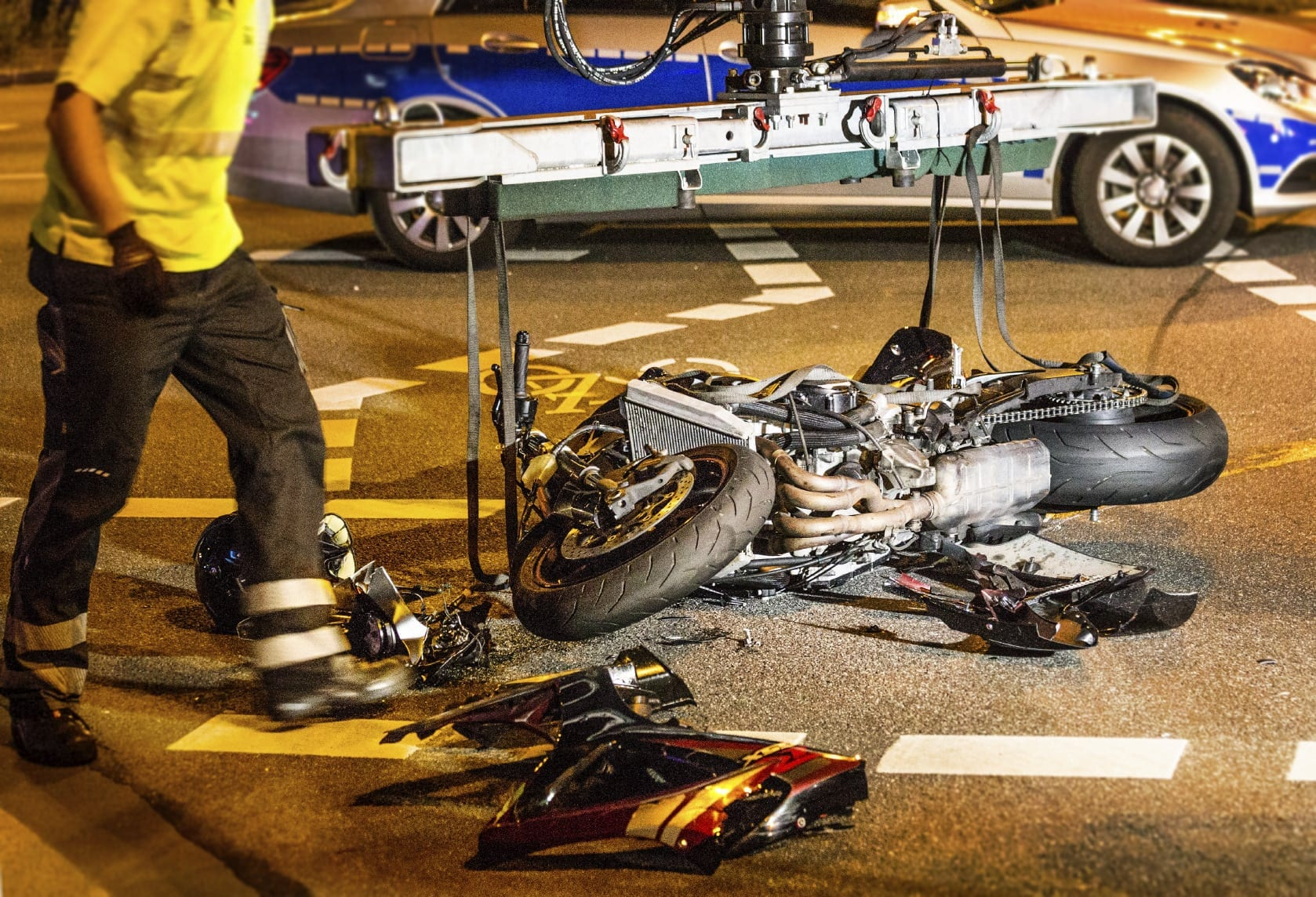 Aftermath Of A Motorcycle Accident Stock Photo