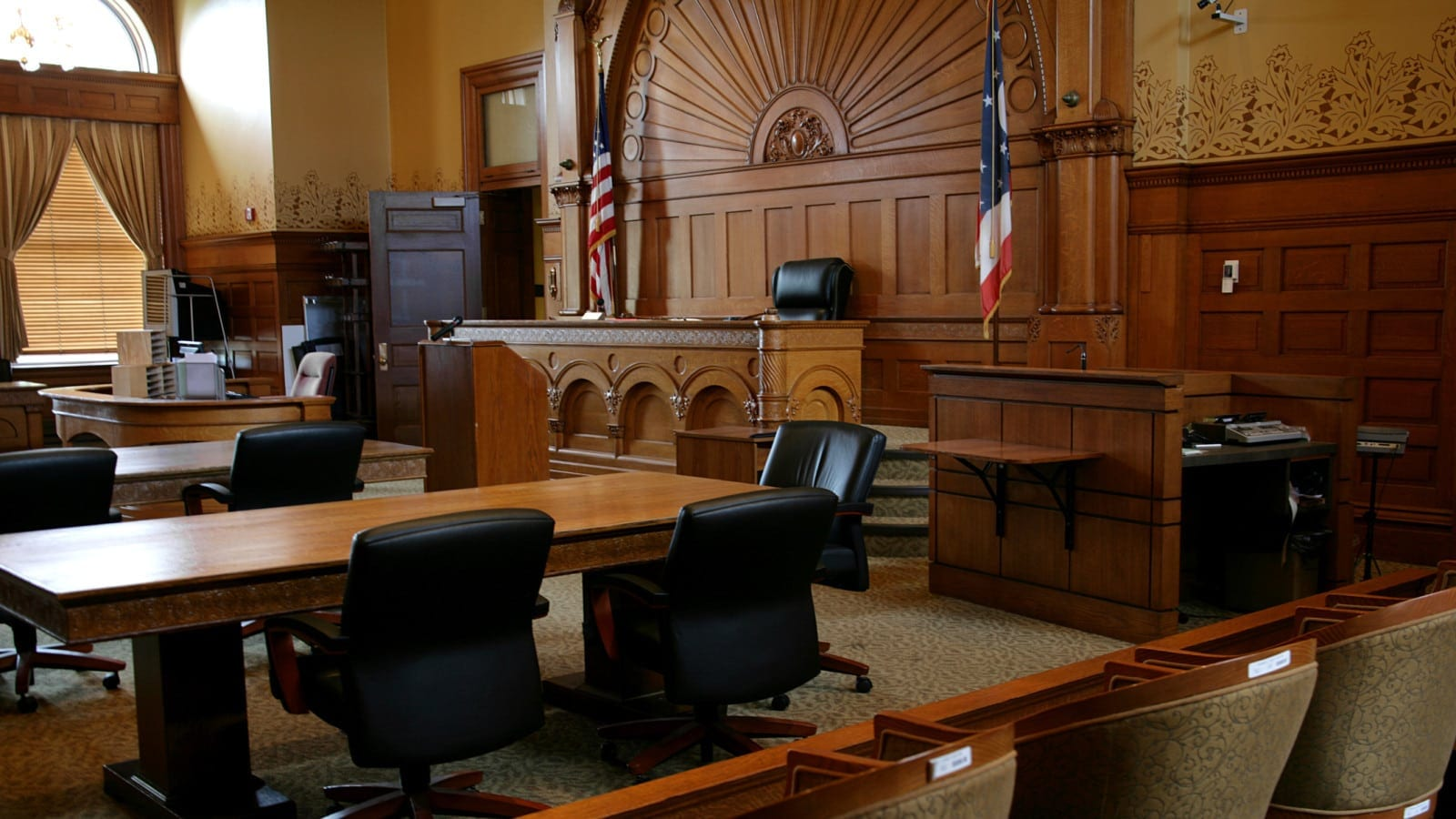 Large Empty Courtroom Stock Photo