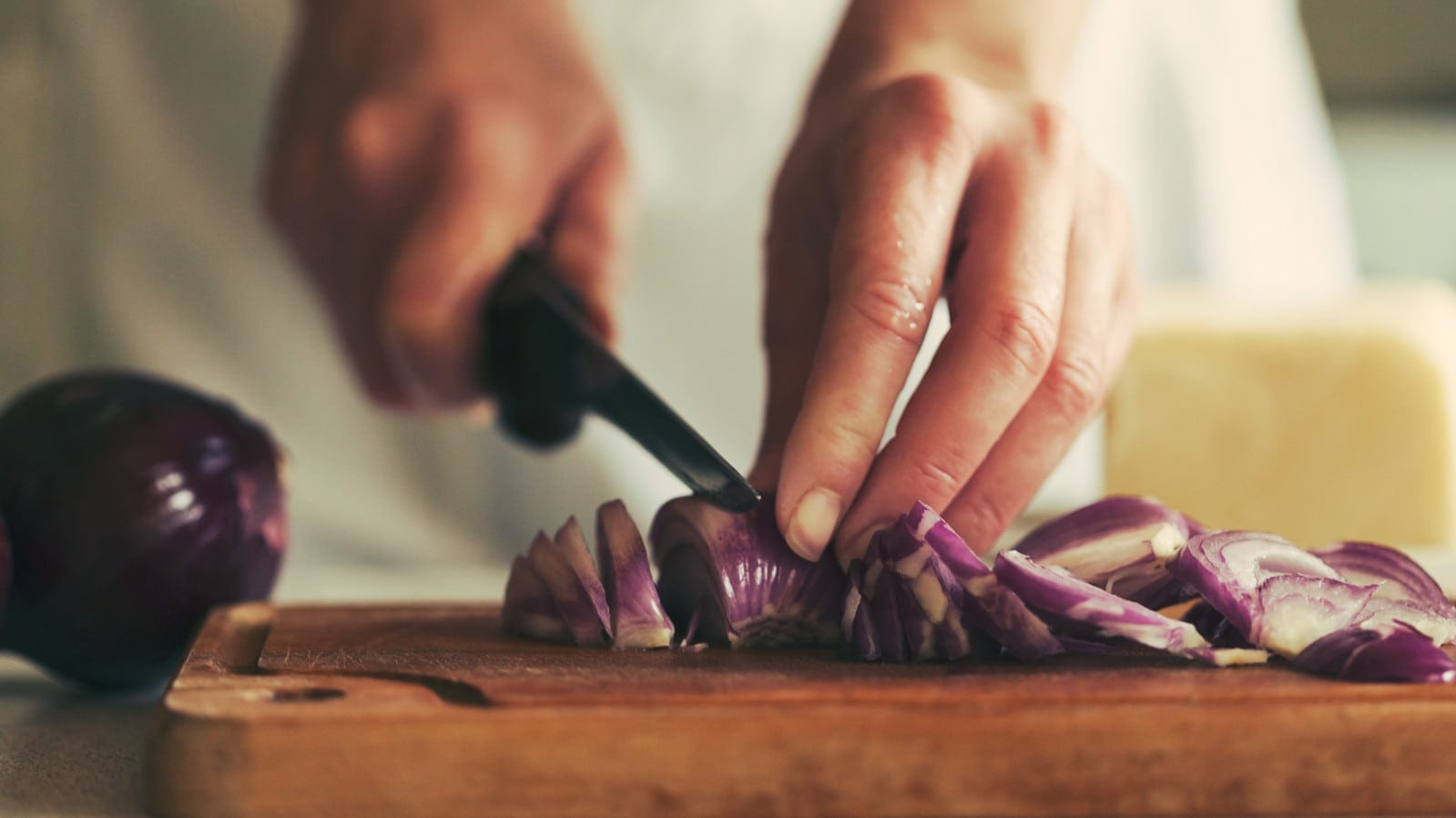 Chef Cutting Vegetables Stock Photo