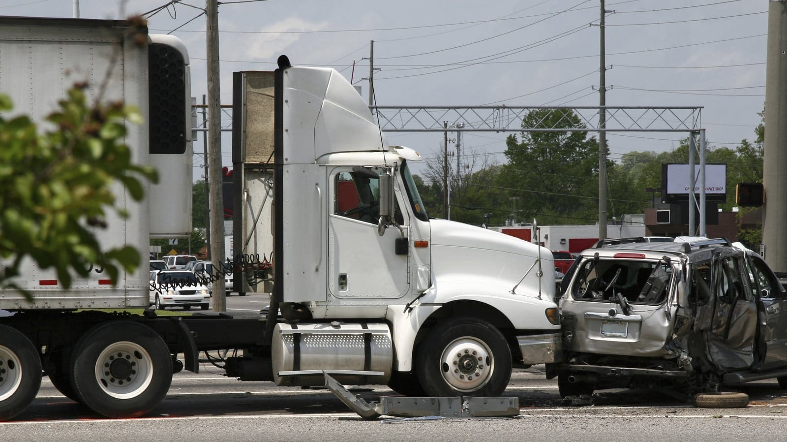 18-wheeler Truck Accident With Smaller Vehicle Stock Photo