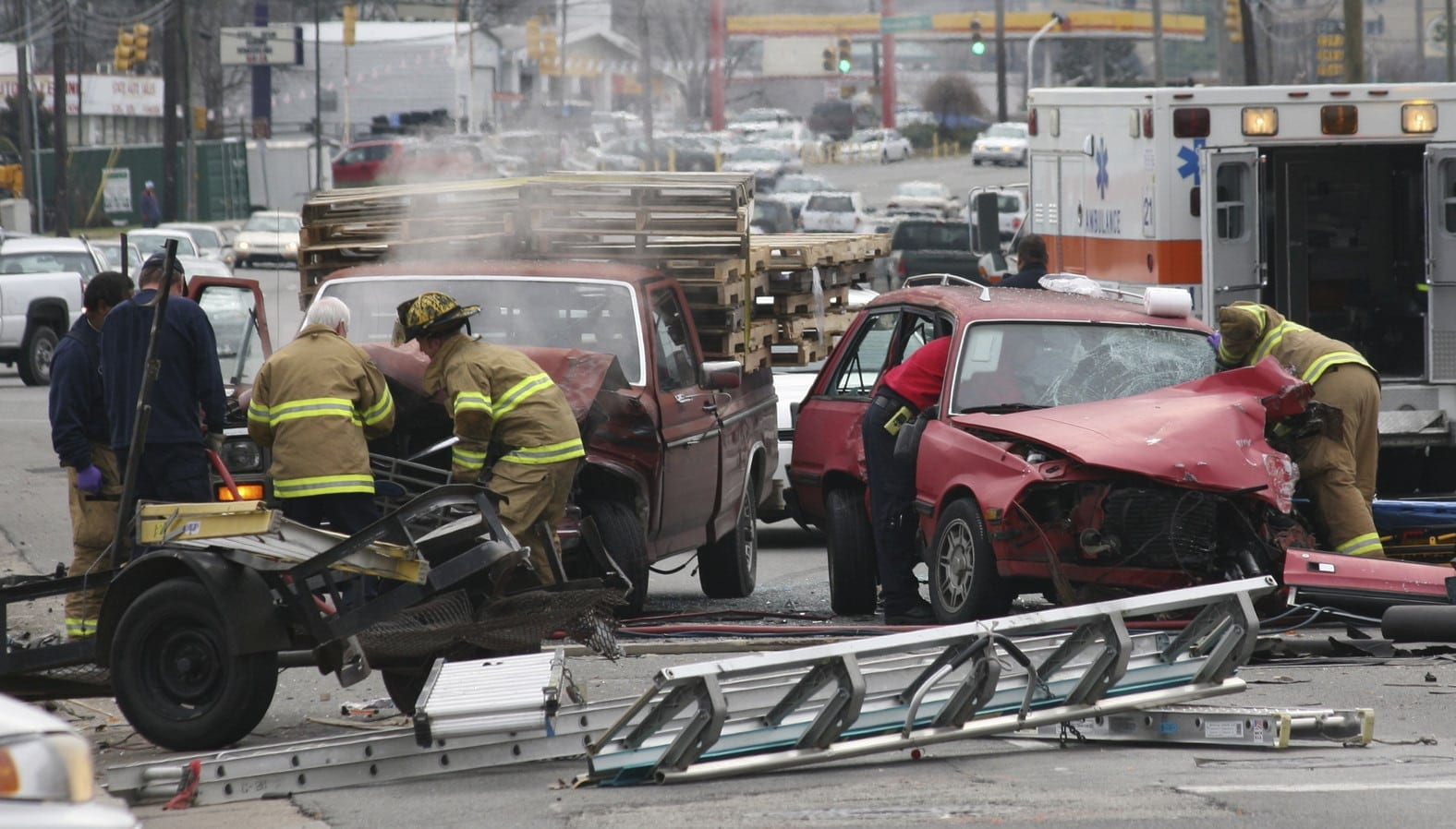 First Responders Responding To Car Accident Scene Stock Photo