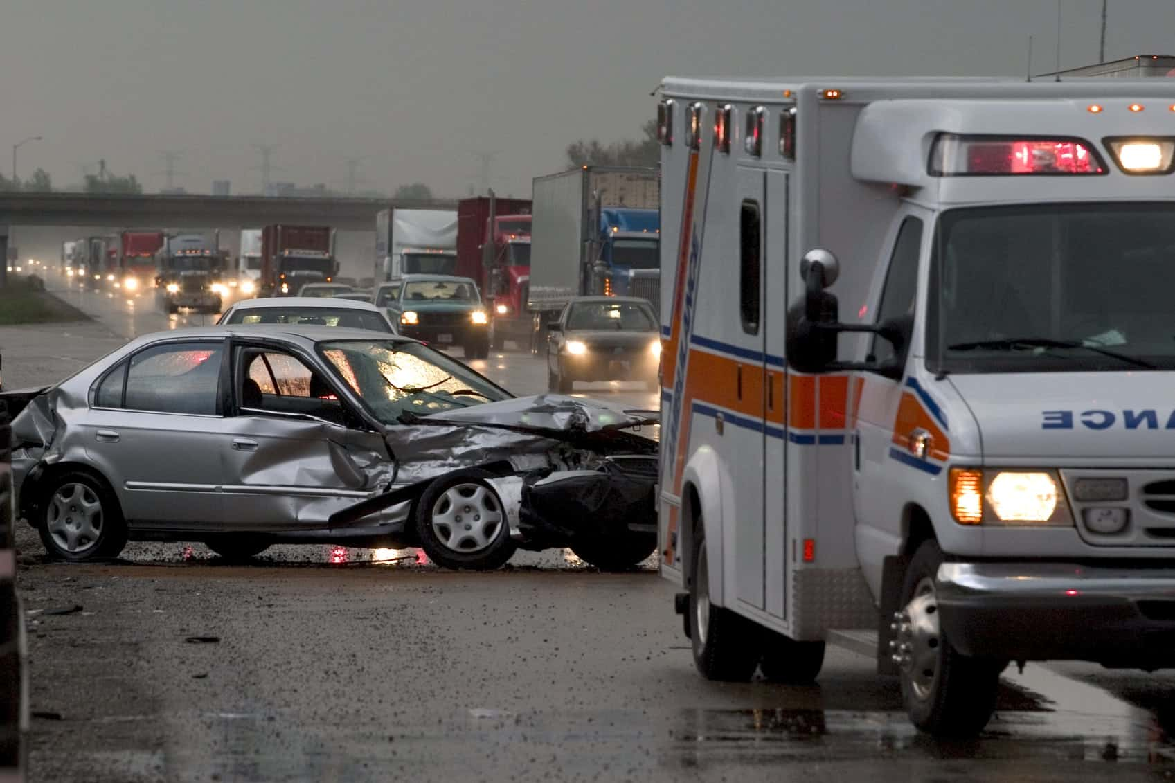 Traffic Jam After Auto Accident Stock Photo
