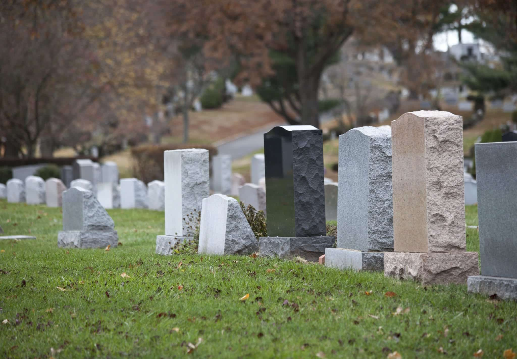 Headstones In A Cemetery Stock Photo