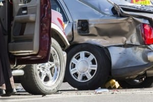 Aftermath of T-bone Car Accident Stock Photo