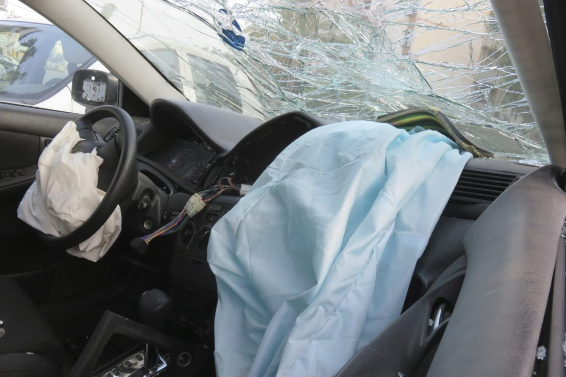 Deployed Airbags After Car Accident Stock Photo