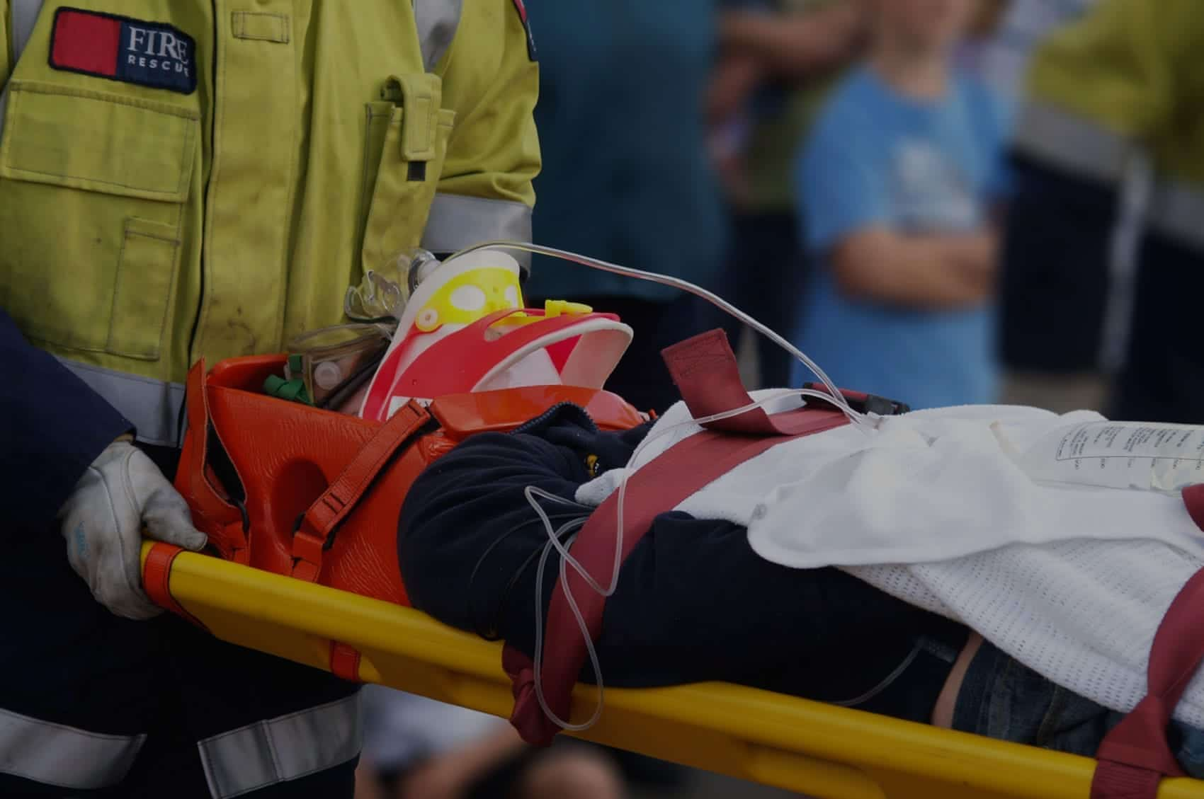 Woman Being Loaded Into An Ambulance Stock Photo