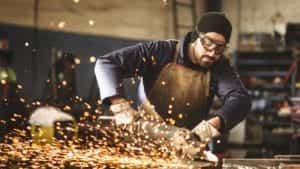 Welder Working With Metal Stock Photo