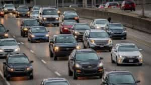 Traffic Congestion On A Highway Stock Photo