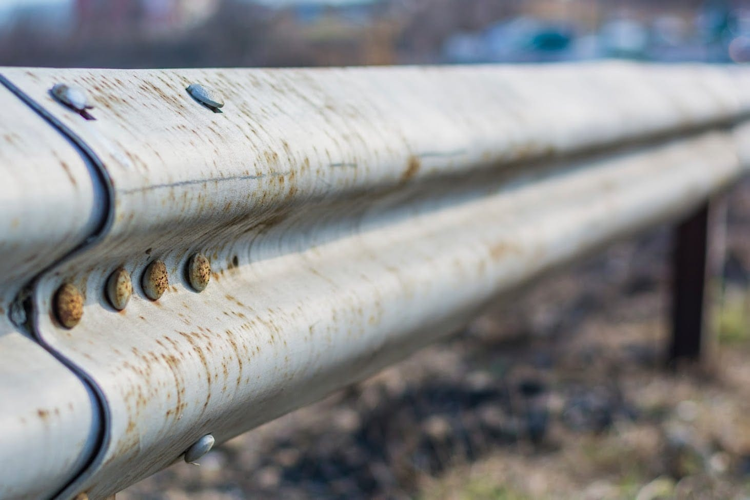 Guardrail On The Side Of A Highway Stock Photo