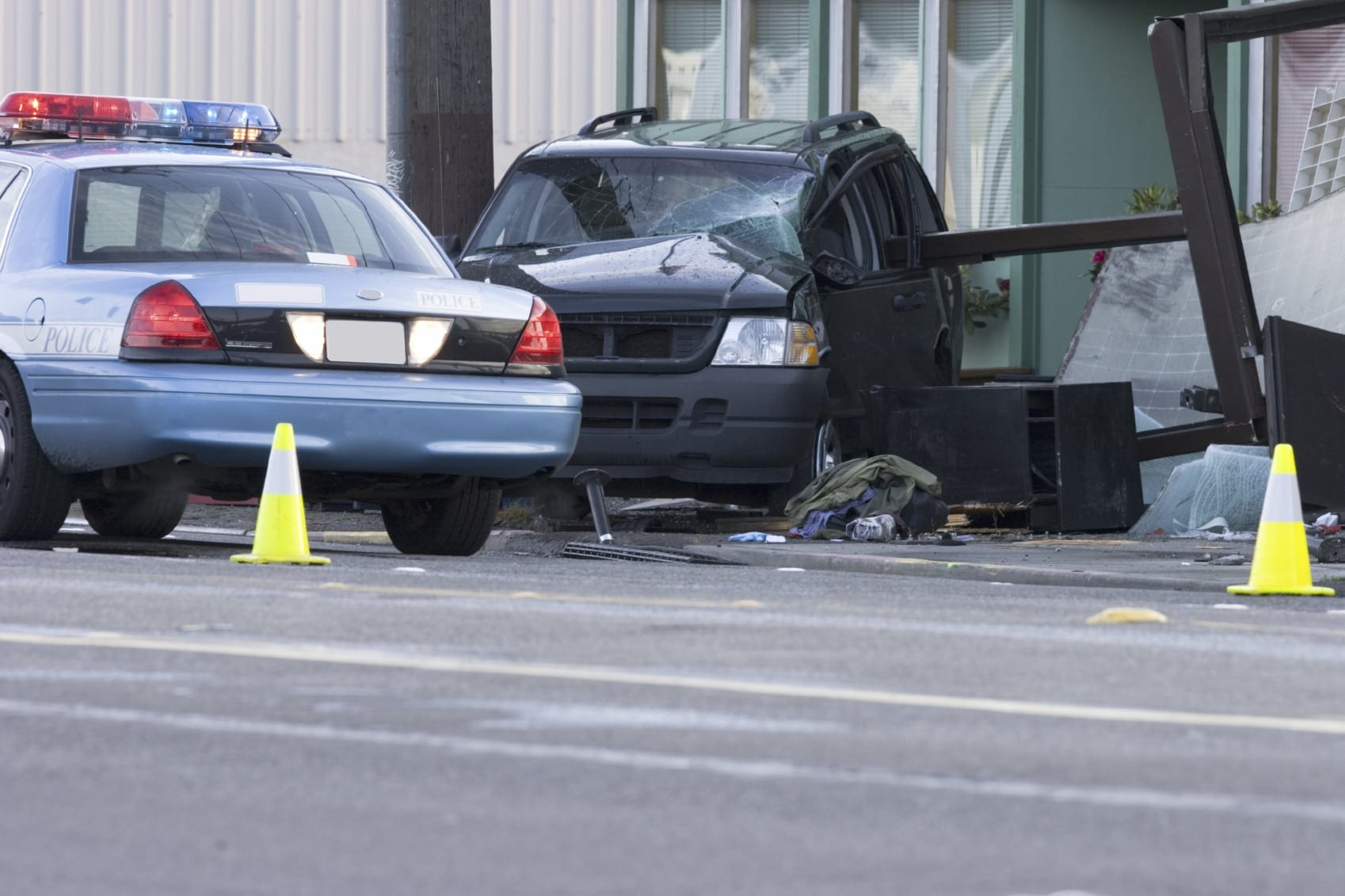 Police Responding To An Auto Accident Stock Photo