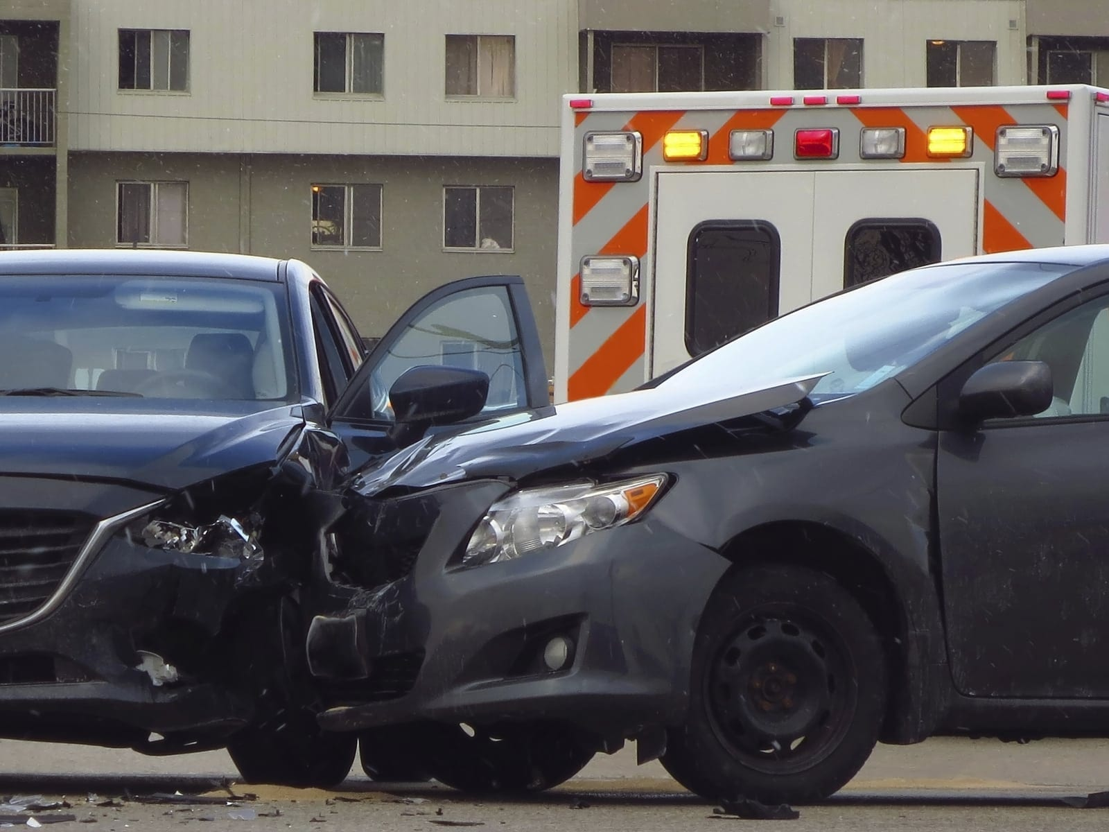 Auto Accident Between Two Black Vehicles Stock Photo