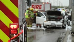 First Responders At A Car Accident Scene