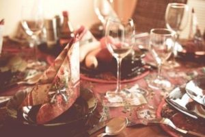 Holiday Dinner Table Stock Photo
