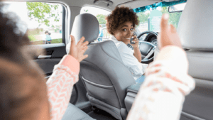 Talking While Driving Stock Photo