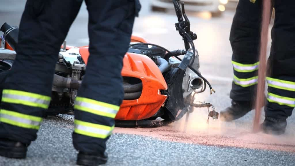 First Responders At Scene Of Motorcycle Accident