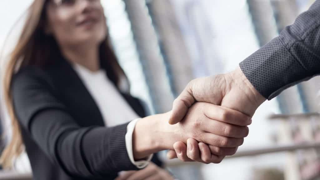 Businesspeople handshake close up view
