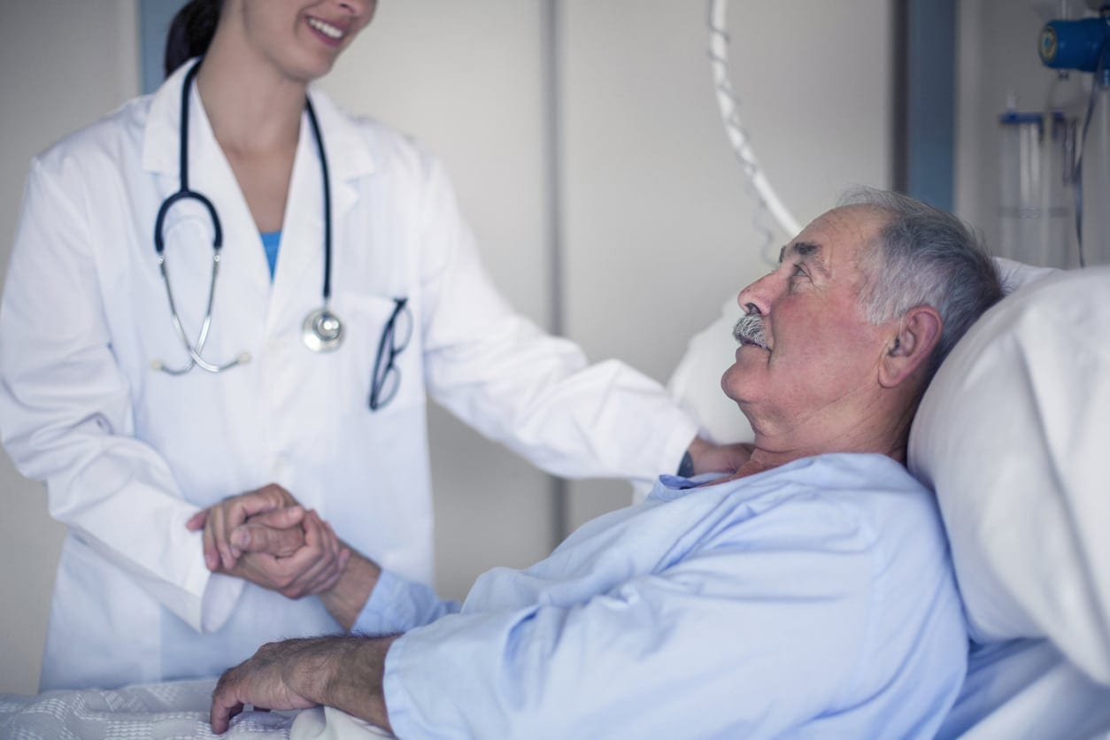 Doctor taking care about a senior man in the hospital