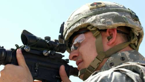 American Soldier With Rifle Stock Photo