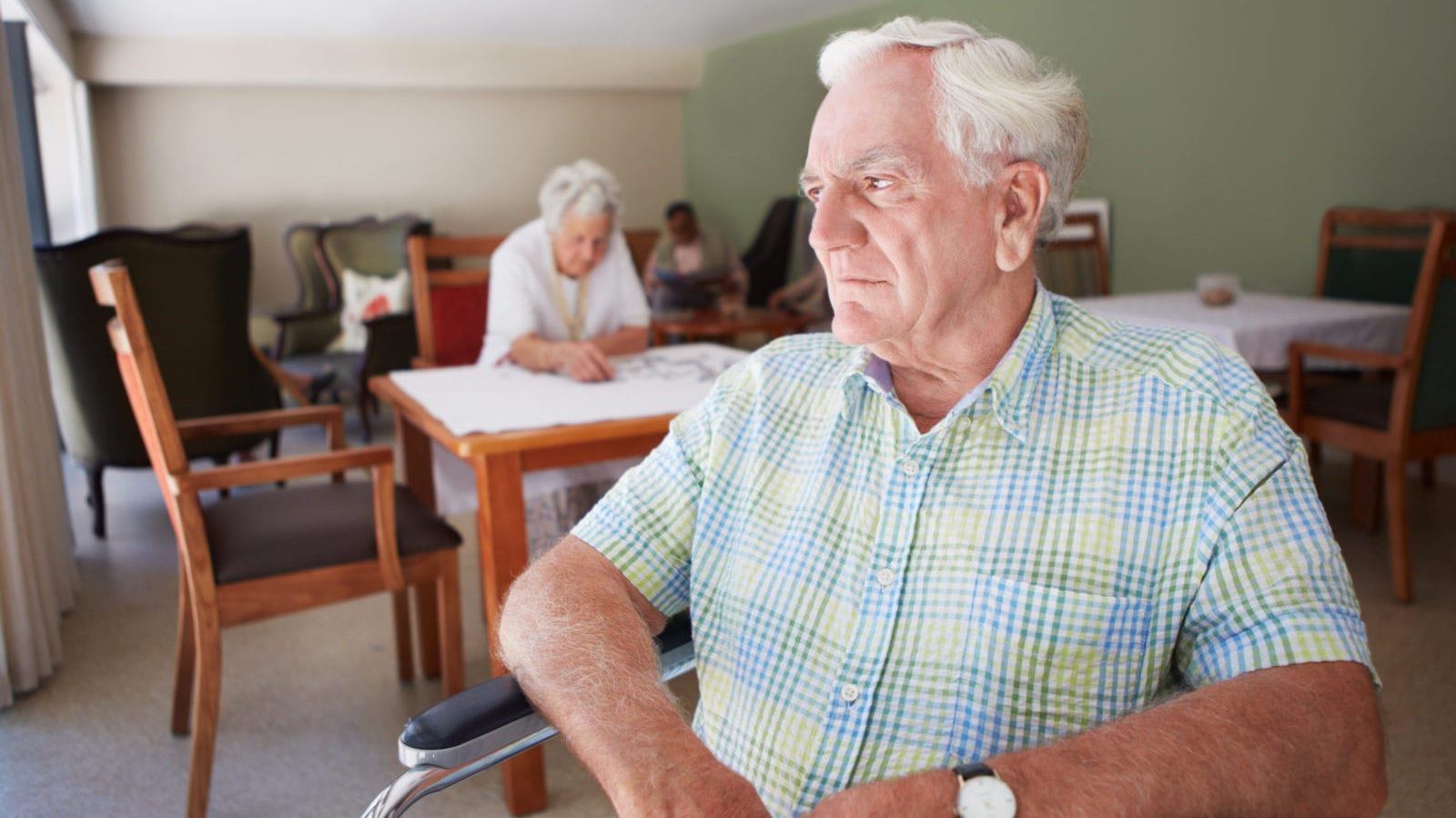 Elderly Man In A Nursing Home Stock Photo
