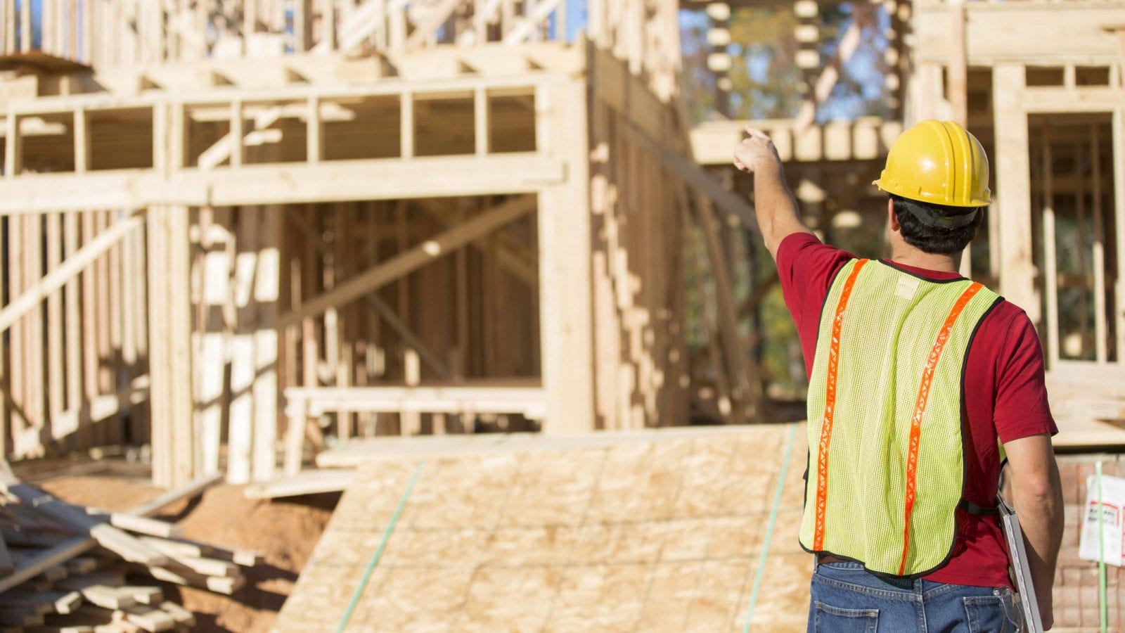 Construction Worker - Home Builder Stock Photo