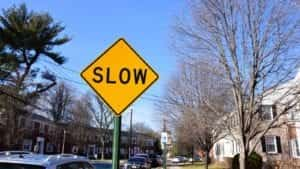 Slow Down Sign Stock Photo