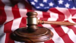 Judge's Gavel and American flag