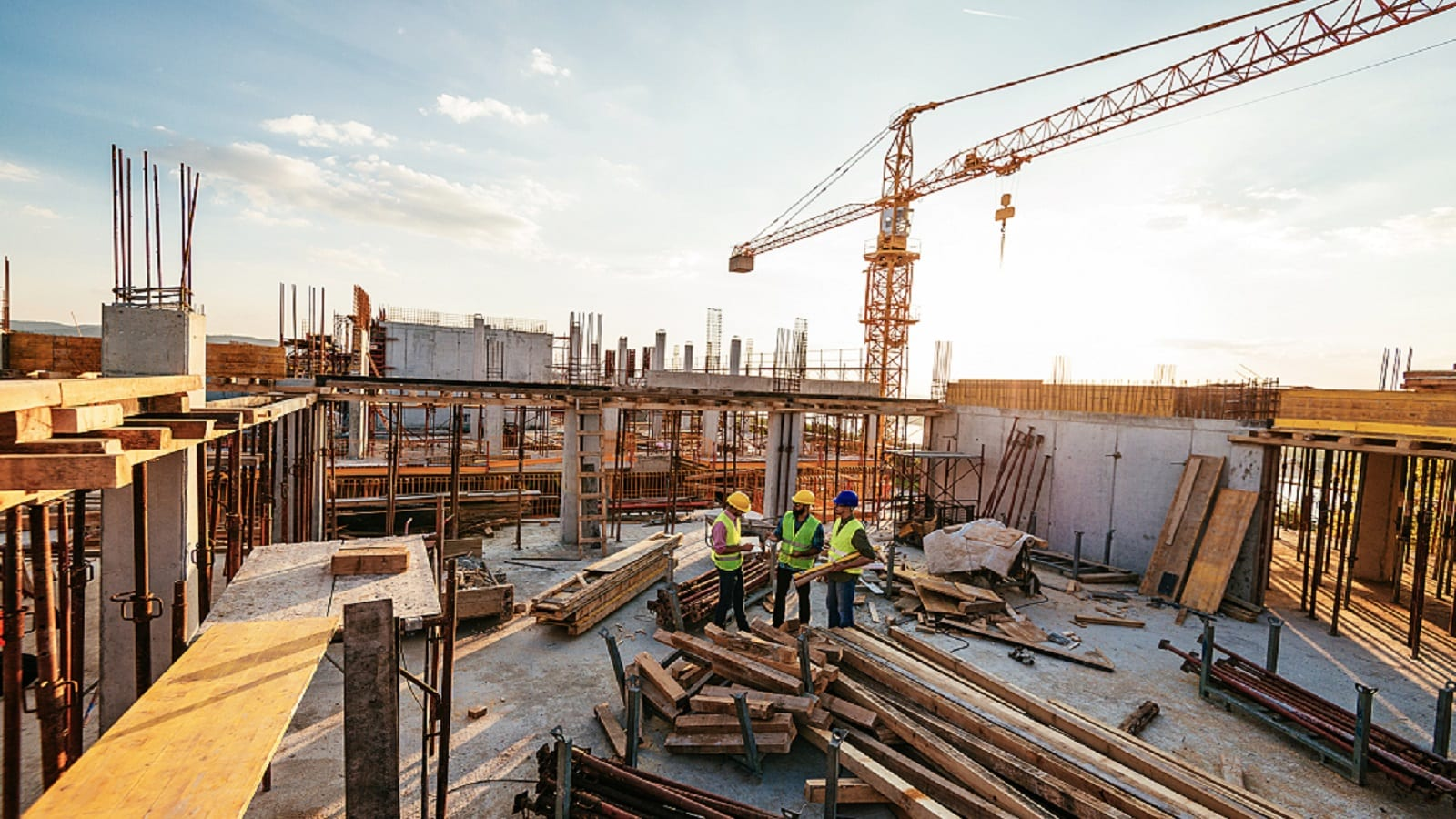 Contractors on a Construction Site Stock Photo