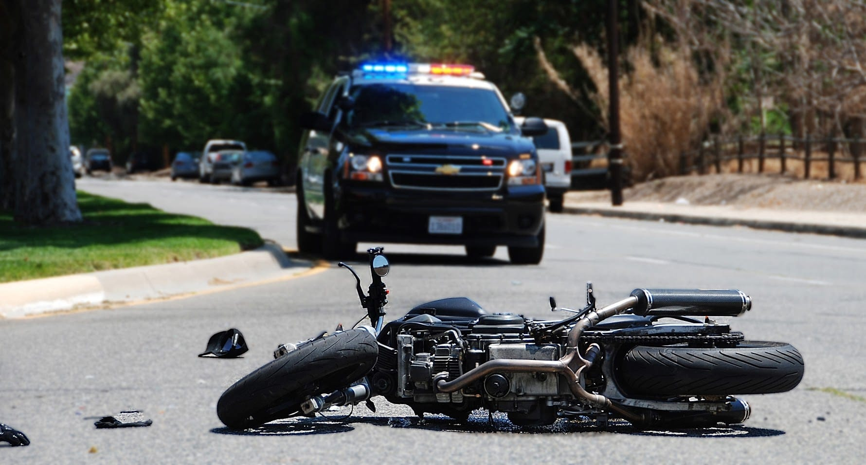 Motorcycle Accident On A City Street Stock Photo