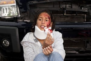 Woman In Neck Brace After Car Accident Stock Photo