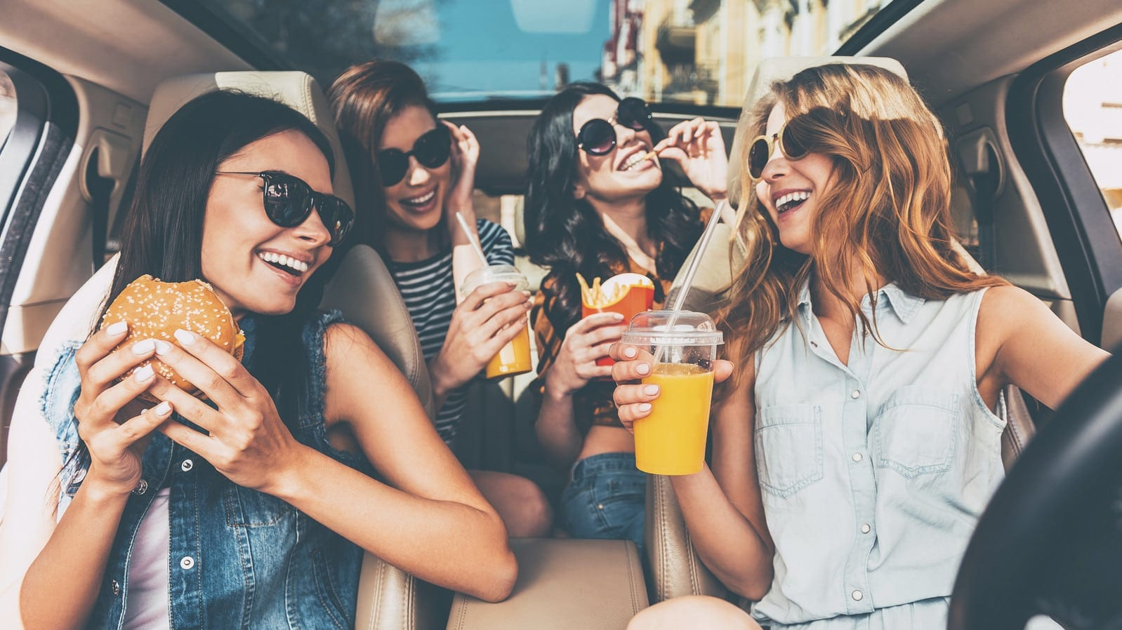 Group of Friends Driving Distracted Stock Photo