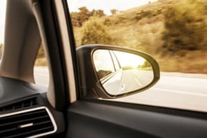 Blind Spot In Side View Mirror Stock Photo