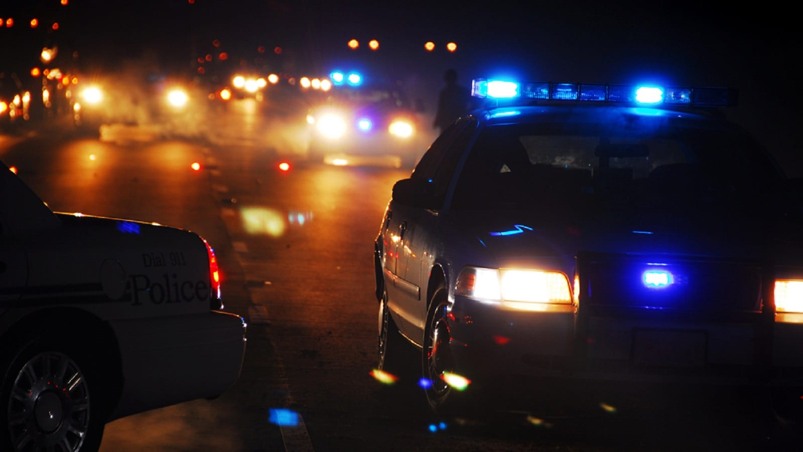 Car Accident Scene At Night Stock Photo