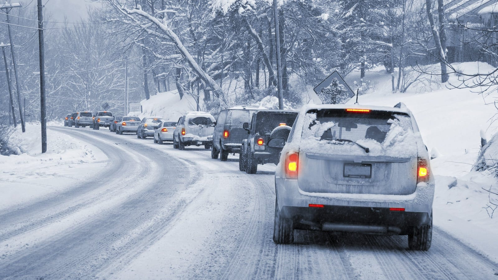 Traffic Jam During A Snowstorm Stock Photo