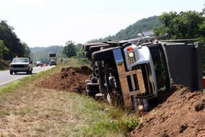 Dump Truck Turned Over In A Ditch Stock Photo