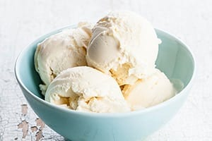 Bowl of Vanilla Ice Cream Stock Photo