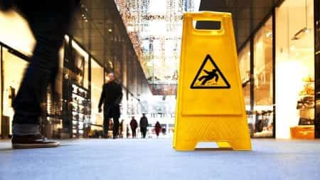 Caution Wet Surface Sign Stock Photo