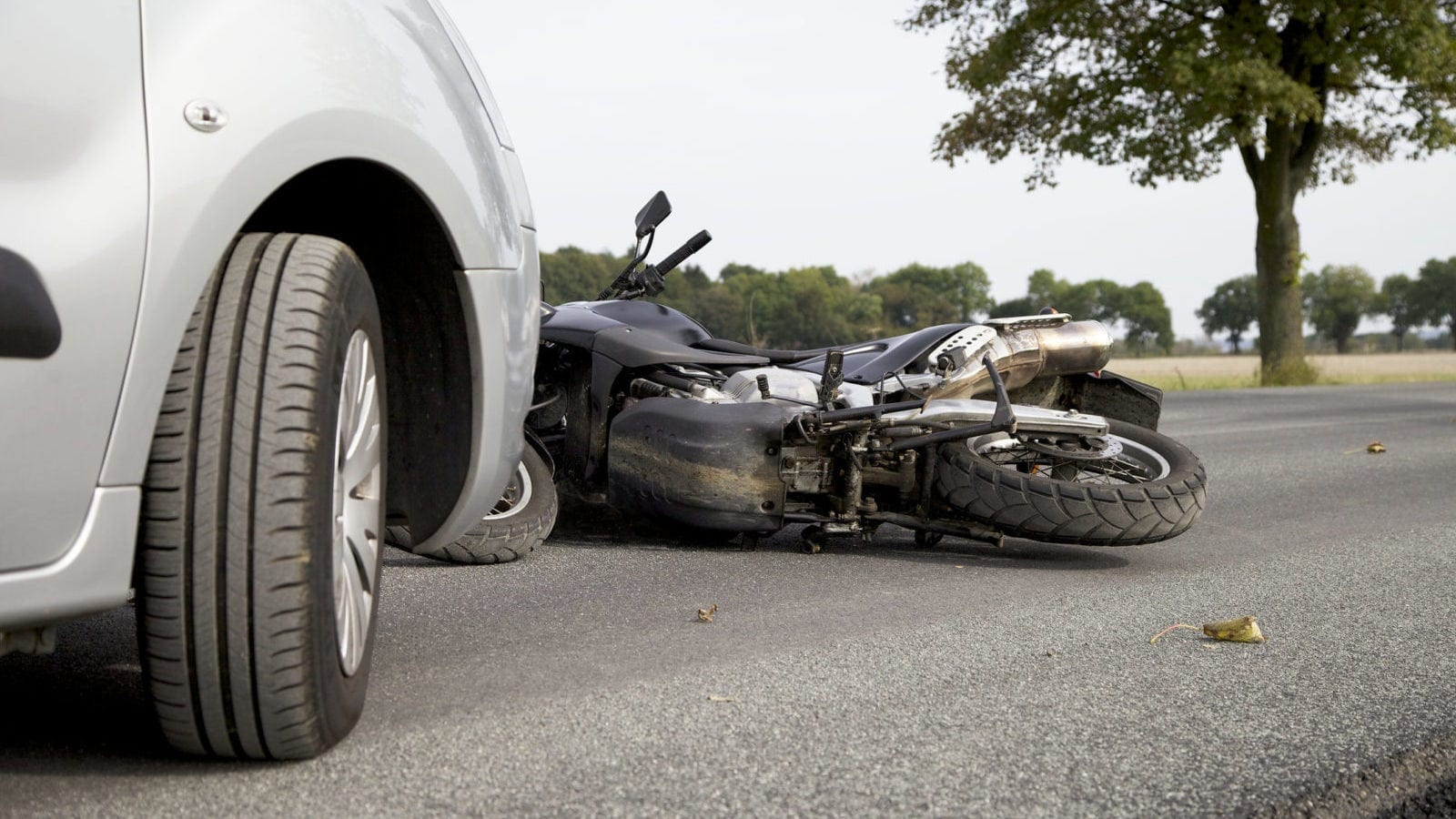 Motorcycle Accident With A Larger Vehicle Stock Photo