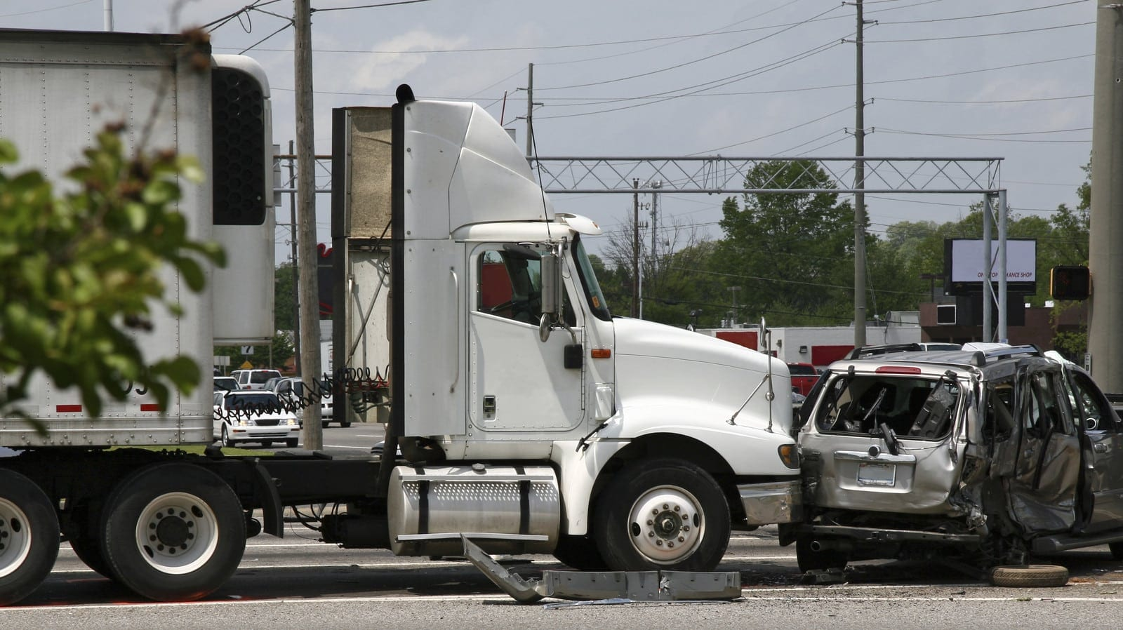 Truck Accident With Smaller Vehicle Stock Photo